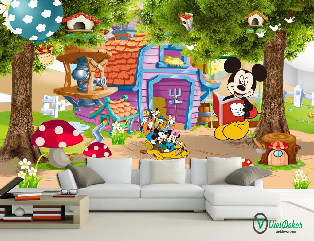 Tranh dán tường 3d chuột micky trang trí phòng ngủ cho bé yêu