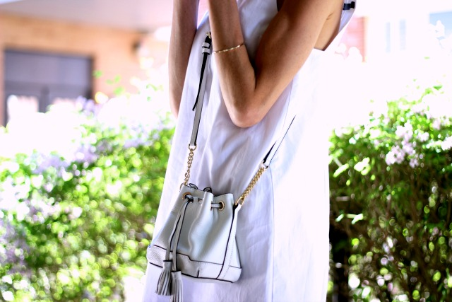 Pastels & Pasties-- White Zara dress, Rebecca Minkoff white micro Lexi bucket bag