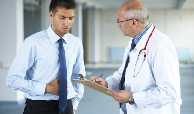 Patient with gastrointestinal diseases visits doctor to receive diagnosis and treatment.