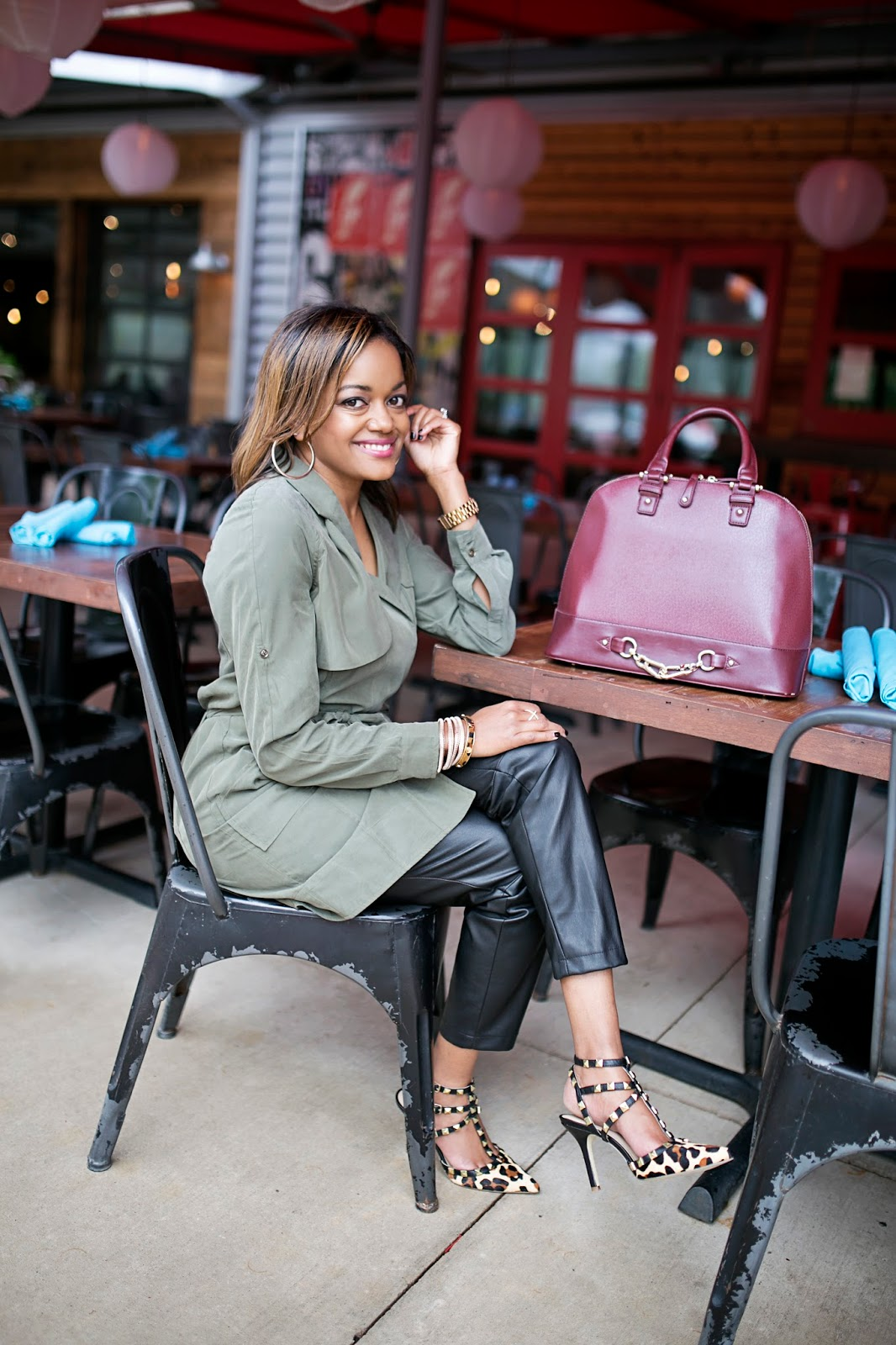 dallas fashion blogger, dallas blogger, fashion blogger, black girl blogger, banana republic trench dress, olive trend, how to wear olive trend, leather pants, dsw bcbgeneration, leopard pumps, valentino rockstud lookalike, valentino rockstud look for less