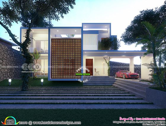 2640 sq-ft 4 bedroom box model flat roof home