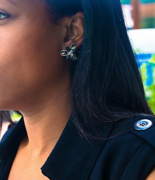 black opal clipon earrings