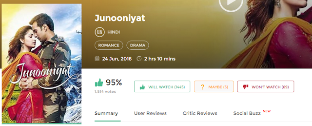 Junooniyat (2016) Bollywood Movie in HD 720p avi mp4 3gp hq free Download