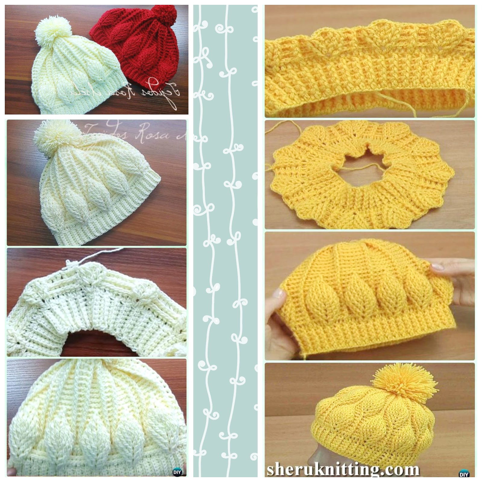 Gorro Con Hojas En Relieve Crochet Paso A Paso