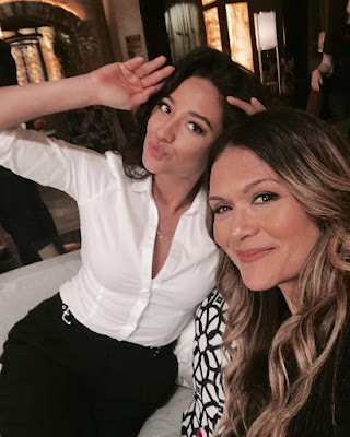 Shay Mitchell and Nia Peeples on set PLL 7x07