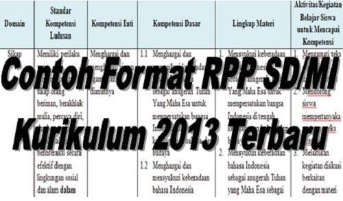 Contoh Format RPP SD/MI Kurikulum 2013 Terbaru