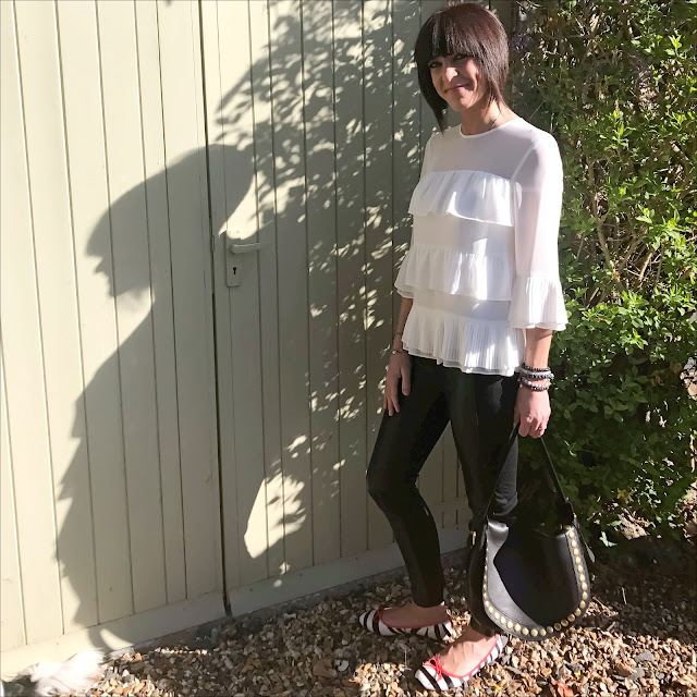 My midlife fashion, Marks and spencer leather zebra print ballet pumps, marks and spencer leather ponte skinny leggings, marks and spencer ruffle layer round neck ¾ sleeve blouse, AND/OR maya leather slouch shoulder bag