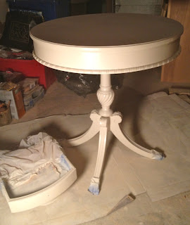 spray painting side table and drawer
