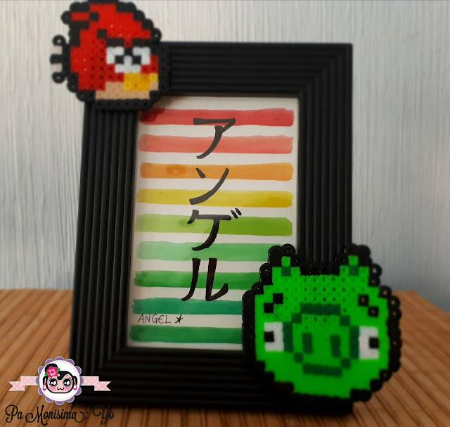 marco de fotos personalizado hama angry birds mario bross monerias en fieltro pamonisimayo nombre acuarela  katakana
