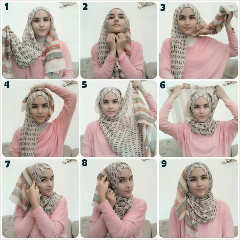 tutorial hijab pashmina ala zaskia sungkar