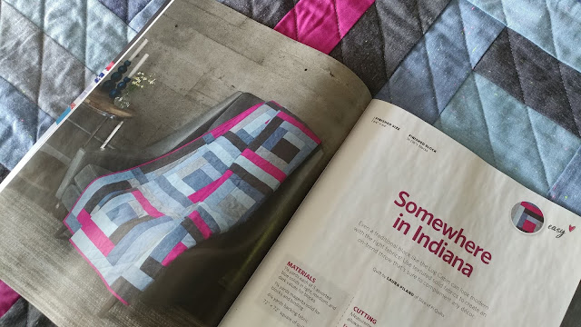 Somewhere in Indiana chambray quilt in Quilty magazine