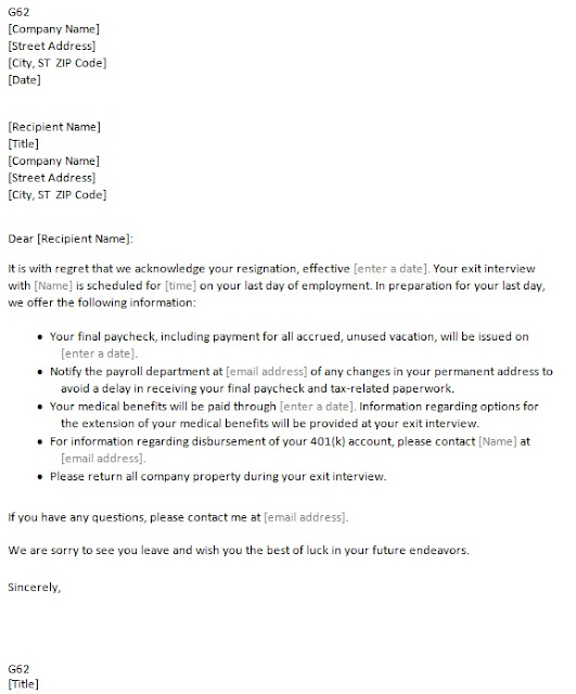 Acceptance Of Resignation Letter Through Email - Resume Layout 2017