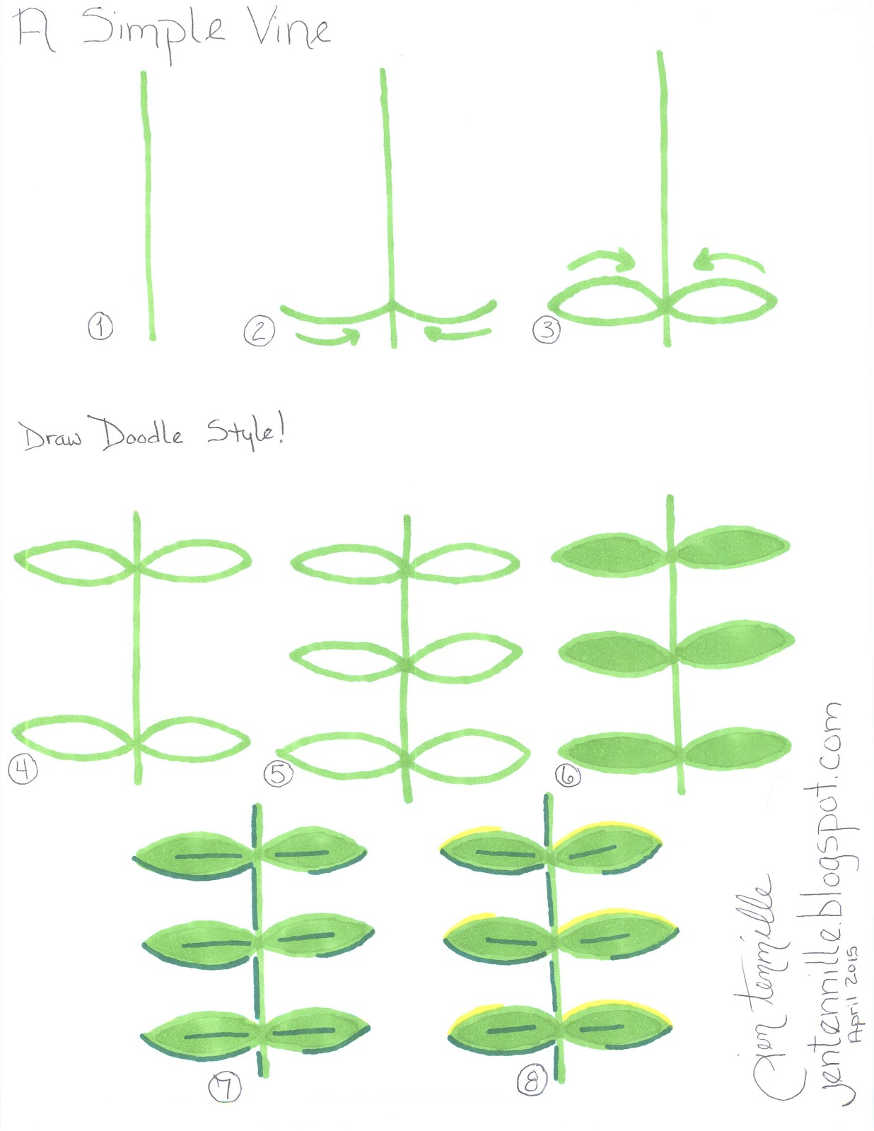 How to draw a simple climbing vine.