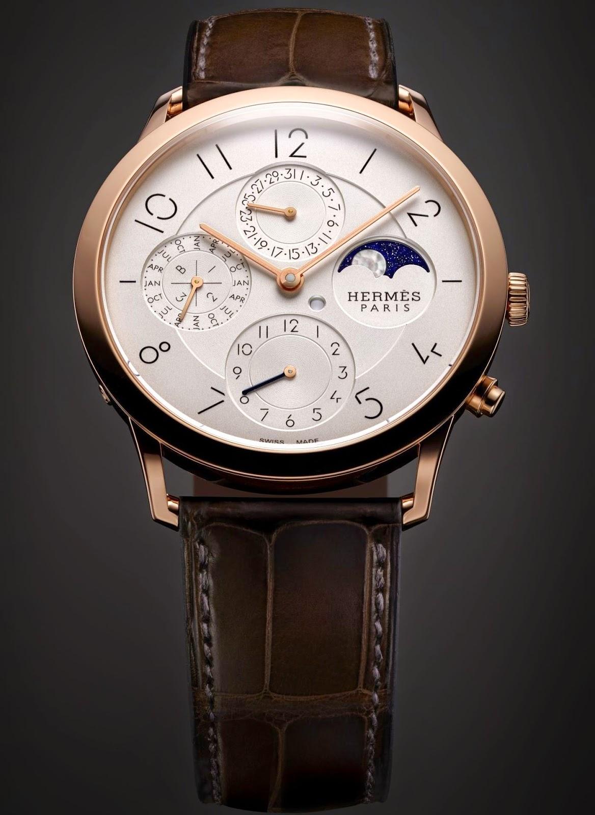 Hermès - Slim d'Hermès Perpetual Calendar watch rose gold version
