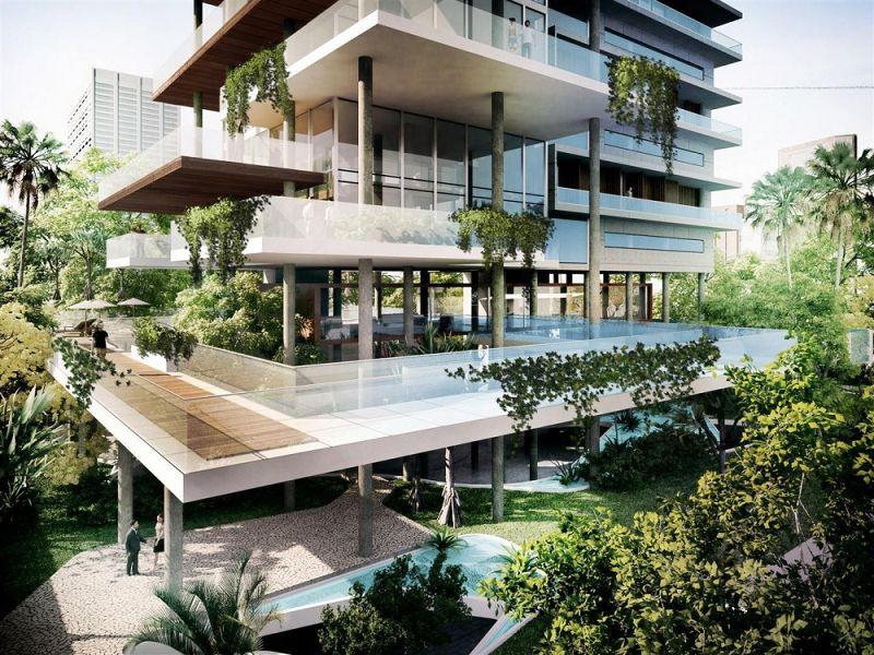 Decorando dormitorios fotos de terrazas en edificios for Fachadas de edificios modernos