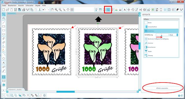 Screenshot Silhouette Studio: Bild einfärben
