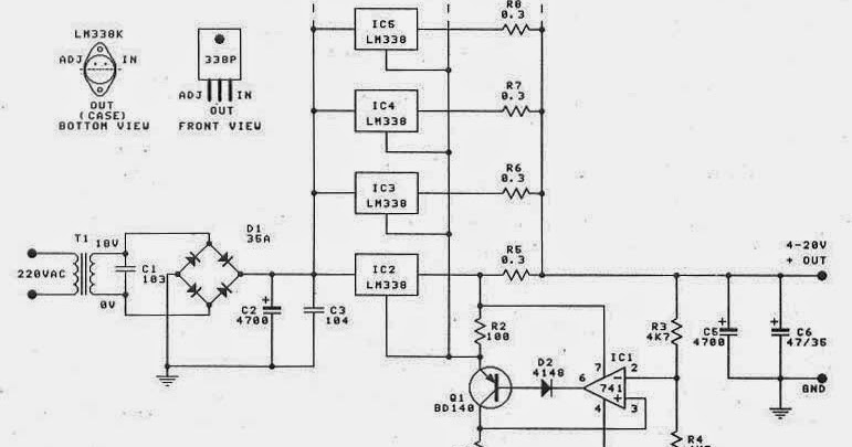 0 30v 20a High Power Supply With Lm338 Circuits Diagram Lab