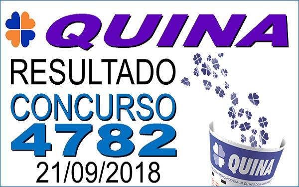 Resultado da Quina concurso 4782 de 21/09/2018 (Imagem: Informe Notícias)
