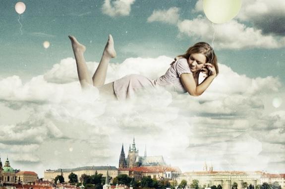 Vajzë mbi re, ilustrim