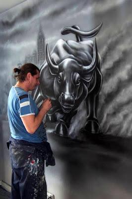 malowanie byka, mural w biurze, malowanie w biurze ścian, artystyczne malowanie graffiti w biurach i lokalach