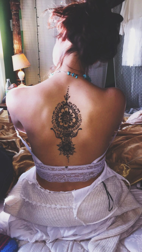 Beautiful Back Henna Tattoo For Girls