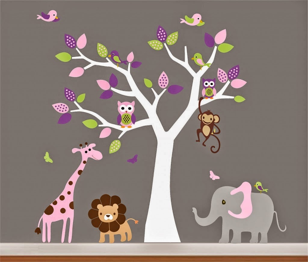 animal decor Nursery Design with Wall stickers