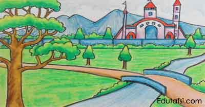 Belajar menggambar pemandangan istana