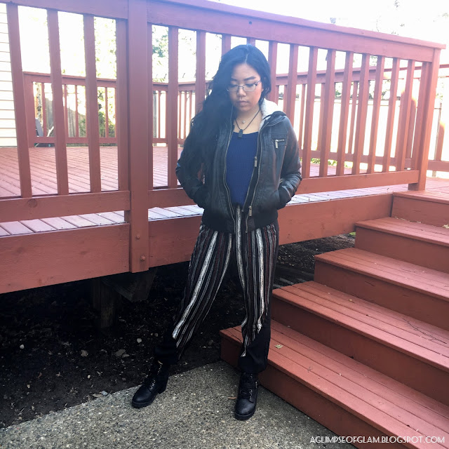 Spring Style OOTD post Black Striped Pants Gamiss Review - Andrea Tiffany A Glimpse of Glam