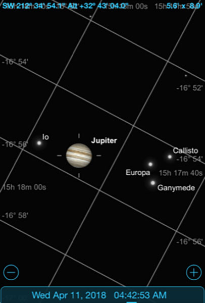 Sky Safari Pro screenshot showing Jupiter and moons for DSLR image (Source: Palmia Observatory)