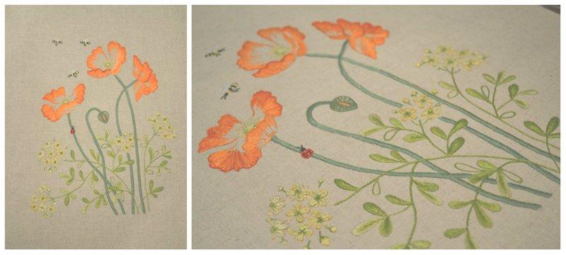 Herb embroidery on Linen 2, вышитые маки, блог лаконичная вышивка