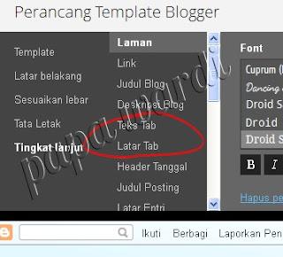 perancang template, perubahan warna bar menu