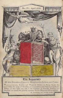 Allegorical woodcut from April 1809 issue of Ackermann's Repository of Arts, with samples of scarlet and gold furniture calico, a striped 'Scotia silk', and a spotted muslin. Author's collection.