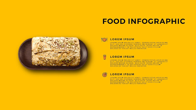 Food Infographic Elements for Editable Background Powerpoint Template with Bread and Tray