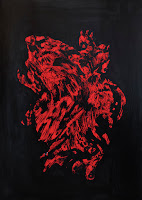Close up photo of Kostas Gogas' 'Monstrous Red' artwork depicting a red high-contrast abstract shape on a black background. Click to enlarge.
