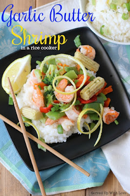Garlic Butter Shrimp recipe in a rice cooker from Served Up With Love