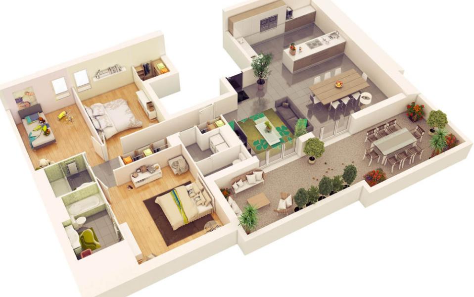 Denah Rumah Minimalis 3 Kamar Tidur 3D