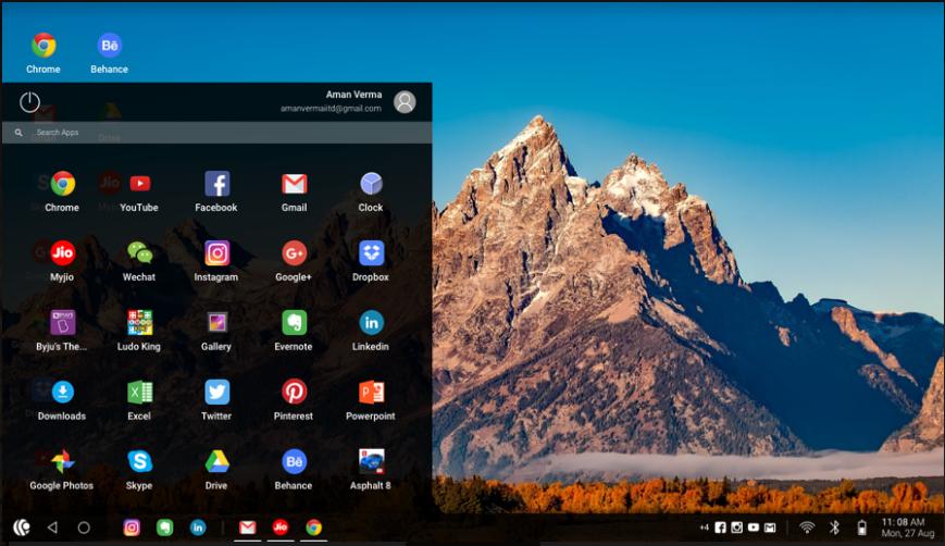 tampilan antarmuka sistem operasi android