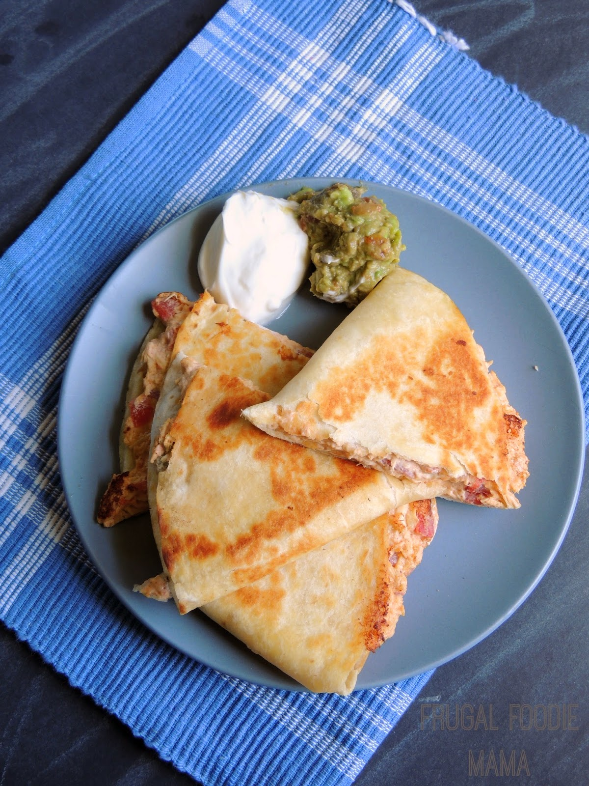 Cream Cheese Chicken Quesadillas via thefrugalfoodiemama.com