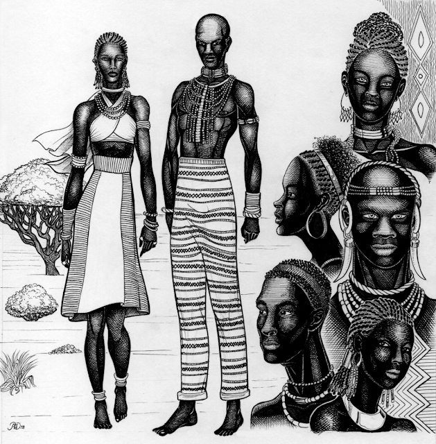 Multiple figures of people from the text - dark skinned, wearing patterned clothing and jewelry.