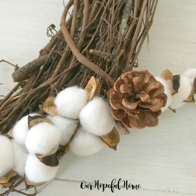 cotton boll pine cones floral wire garland wreath