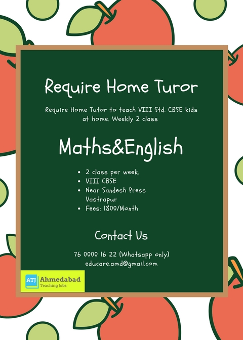 Job Opening For Maths and English Teacher