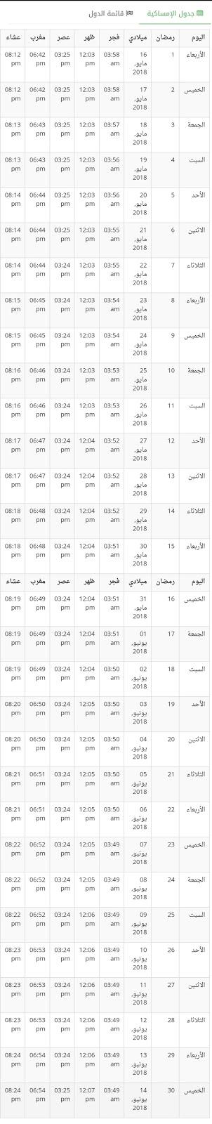 إمساكية رمضان في مصر 2018 , 1439