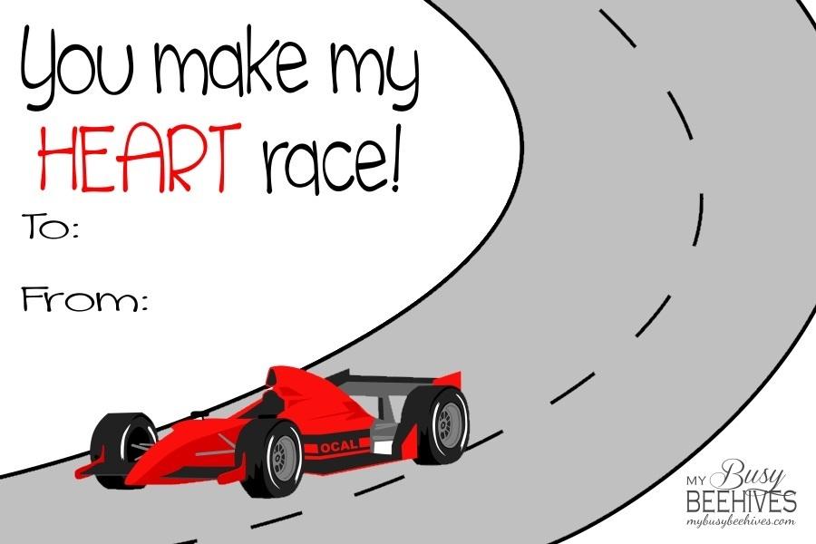 printable race car valentines