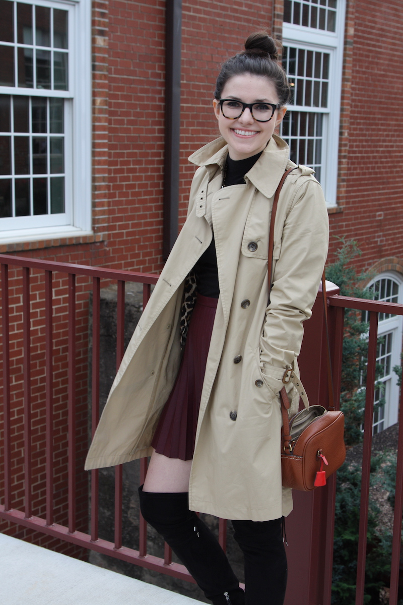 2017, fall, OOTD, J.Crew, cheetah, trench coat, over the knee boots, leather, burgundy,