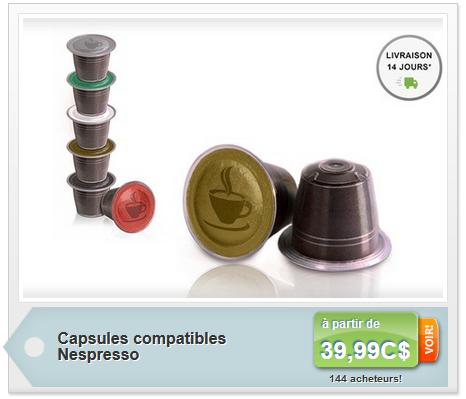 les coupons rabais 100 capsules de caf compatibles nespresso pour livraison et taxes. Black Bedroom Furniture Sets. Home Design Ideas