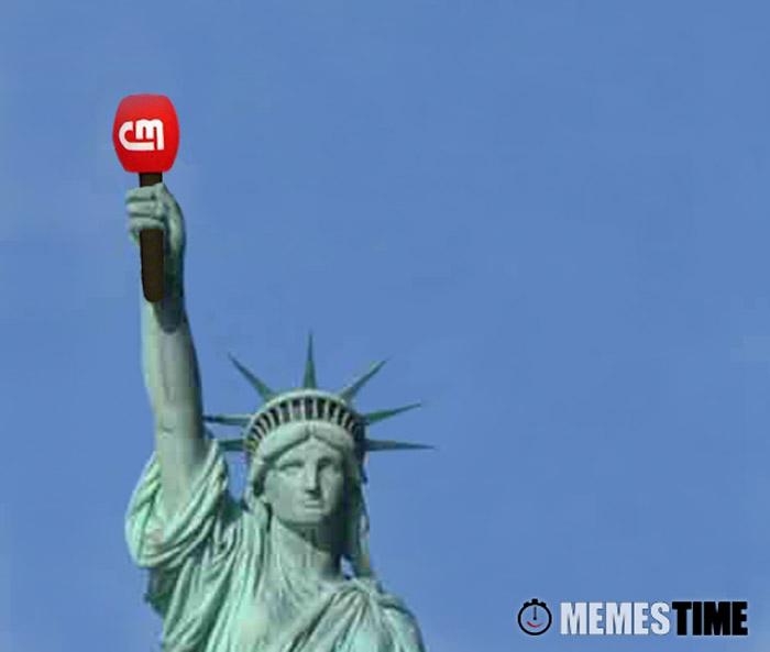 Meme Estátua da Liberdade com Microfone do CM