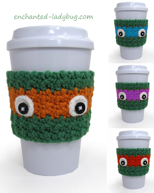 Free Crochet Teenage Mutant Ninja Turtle Coffee Cup Cozy Pattern