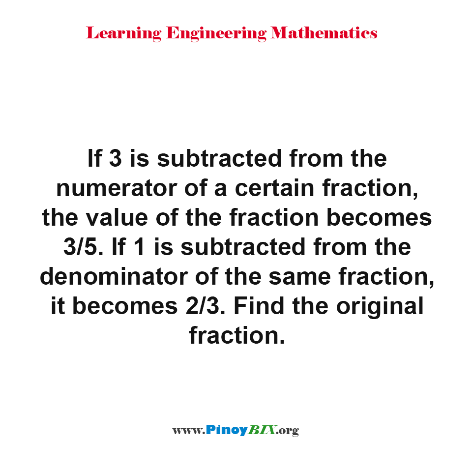 How to find the original fraction?