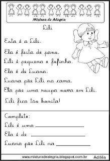 Pequenos textos para alfabetização com boneca