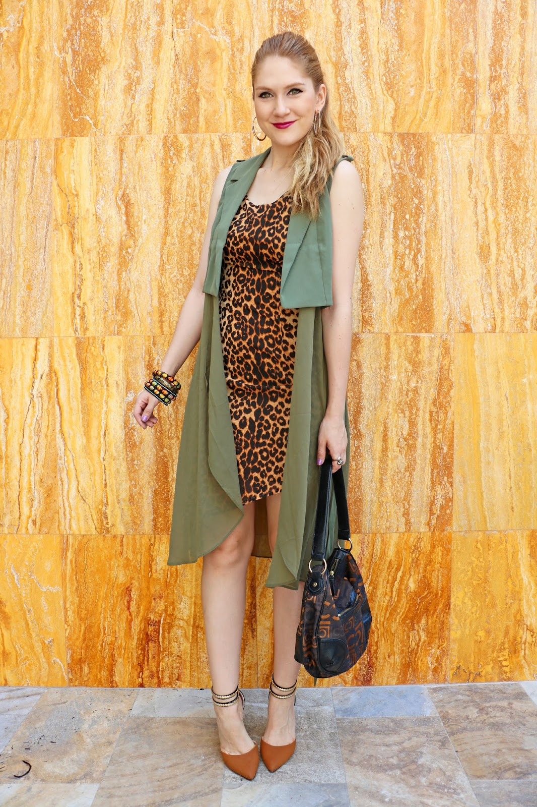 This army green jacket looks great paired with leopard print